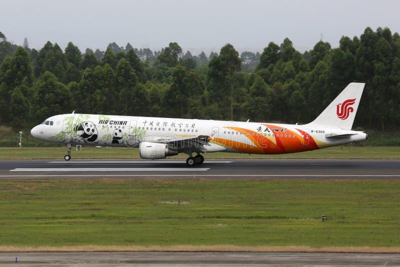 Chengdu för flygplan för Air China flygbuss A321 flygplats fotografering för bildbyråer