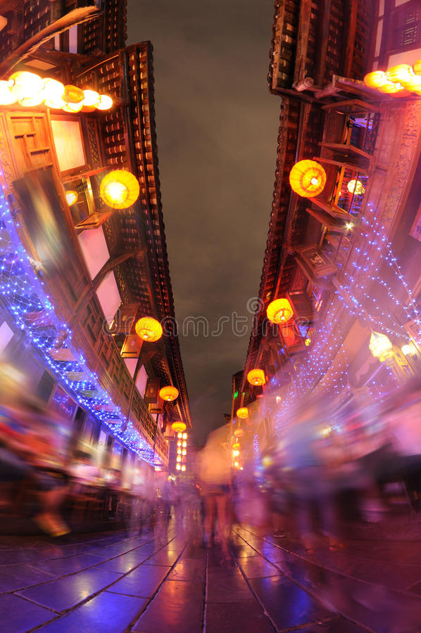 Chengdu jinli old street at night. Jinli street, Chinese famous Commercial Pedestrian Street in Chengdu, Sichua, China stock image