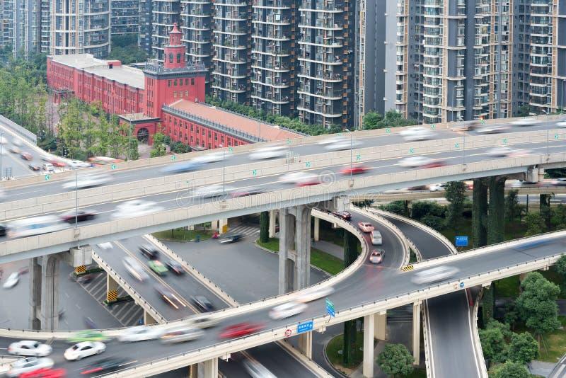 Chengdu - opinión aérea del paso elevado en luz del día fotografía de archivo libre de regalías