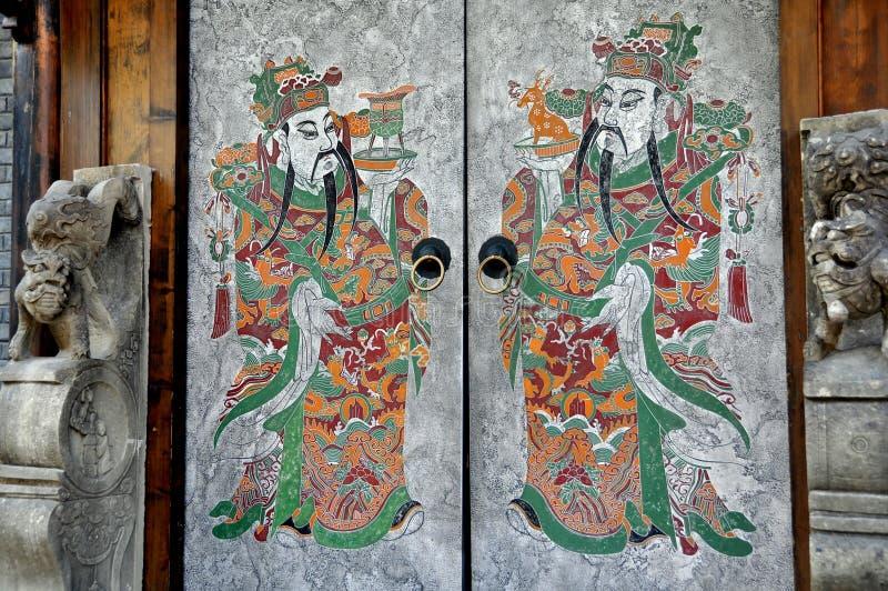 chengdu porcelanowej drzwi ręki stary malujący miasteczko zdjęcie stock