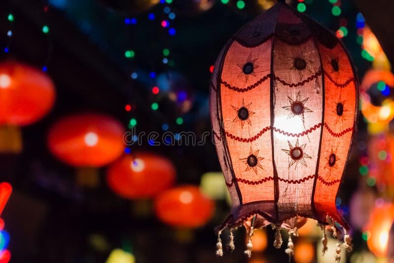 Red Lanterns Hang at Chengdu`s JinLi Ancient Street stock photography
