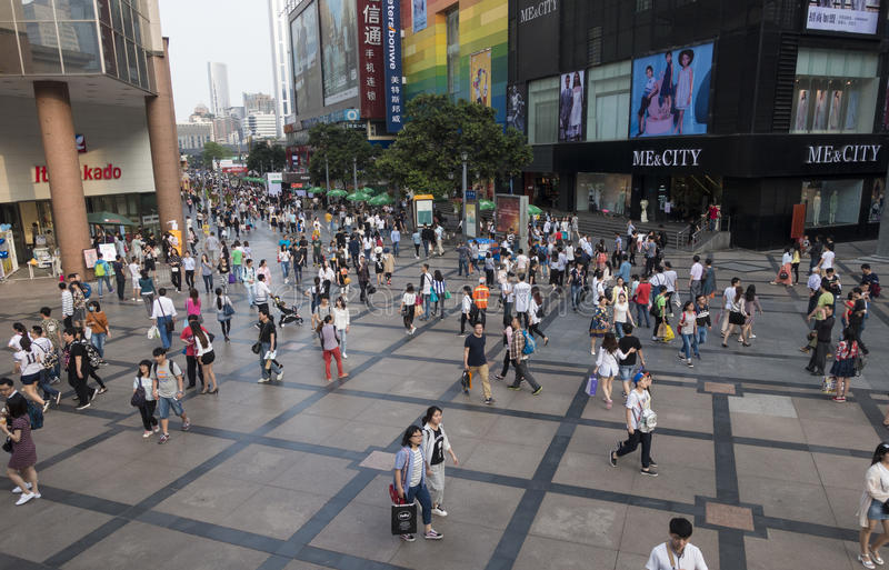 Chengdu shopping street. Shoppers and visitors crowd at a shopping street ,chunxi street,chinese famous business walking street in chengdu stock photos