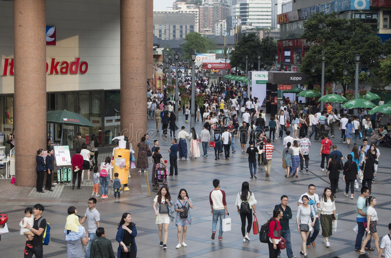 Chengdu shopping street. Shoppers and visitors crowd at a shopping street ,chunxi street,chinese famous business walking street in chengdu stock photography