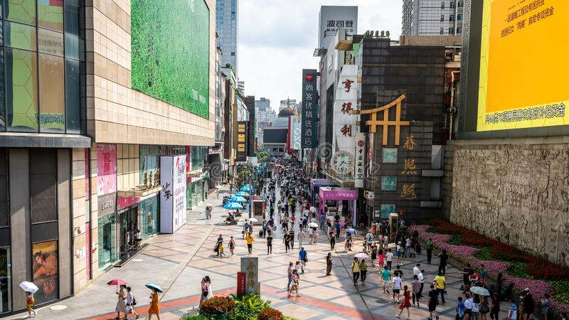 Top view of Chunxi road full of people the main shopping pedestrian street of Chengdu Sichuan China. Chengdu Sichuan China, 3 August 2019 : Top view of Chunxi royalty free stock image