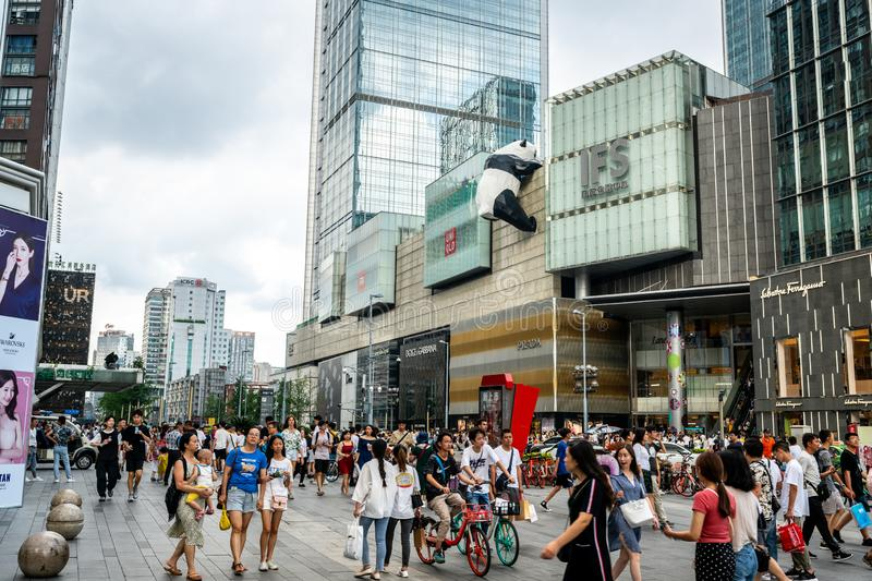View of IFS shopping mall with giant panda statue in Chunxi road district of Chengdu Sichuan China. Chengdu Sichuan China, 3 August 2019 : View of IFS shopping stock photo