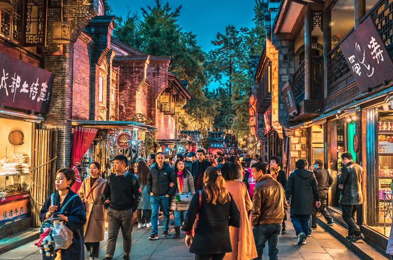 Jinli ancient town night scene street view in Chengdu royalty free stock images