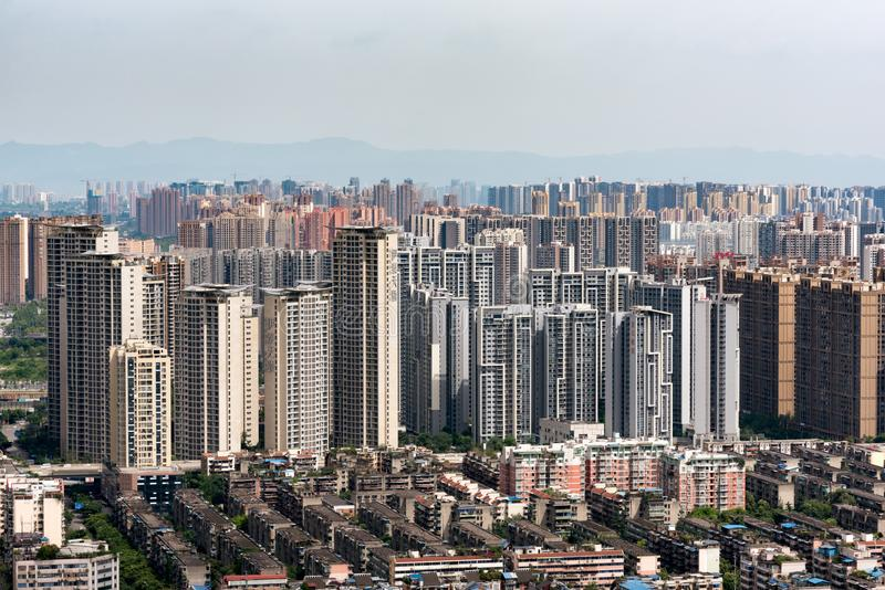 High residential buildings aerial view in the est district of th royalty free stock photo