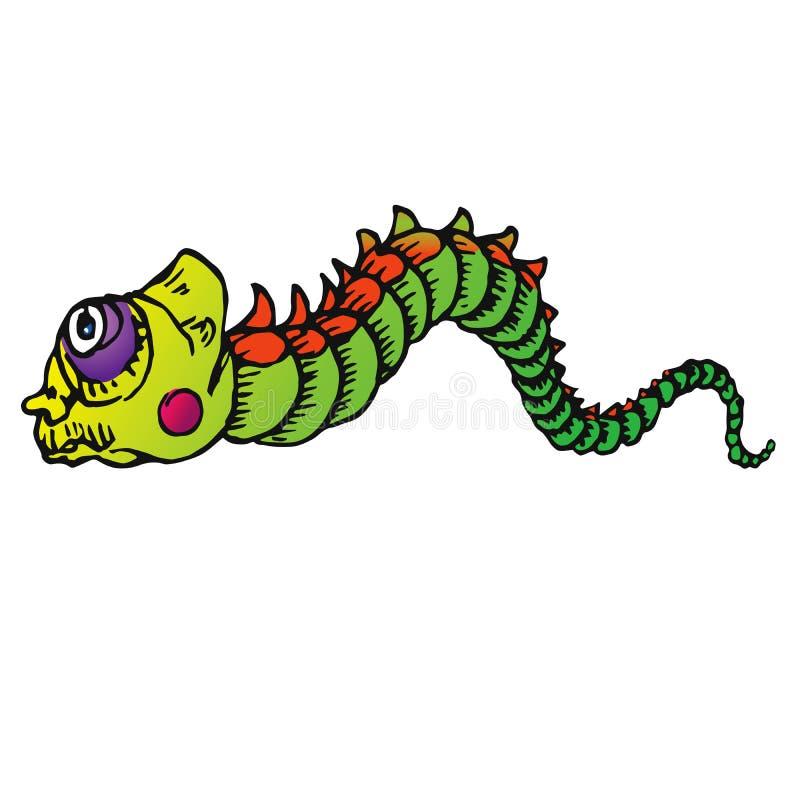 Chenille verte drôle avec la joue rouge rampant, croquis tiré par la main de couleur de griffonnage illustration de vecteur