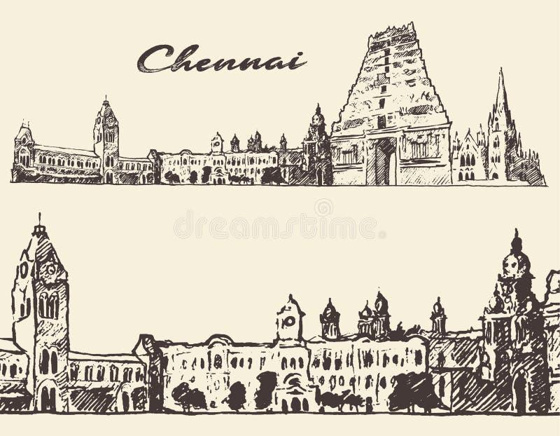 Chennai gravou o esboço tirado mão da ilustração ilustração royalty free