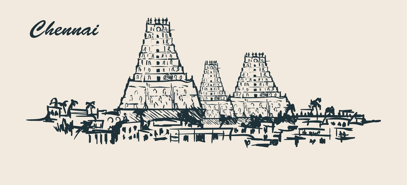 Chennai horisont som hand-dras skissar vektorillustrationen på vit bakgrund stock illustrationer