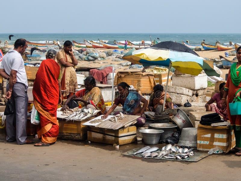 Local fish market on the road near the beach in Chennai, India. royalty free stock photos