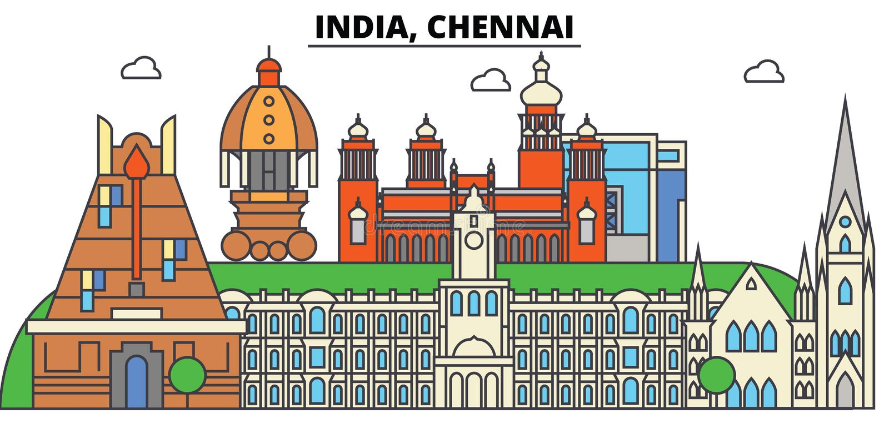 Chennai, India, Hindoeïsme Stadshorizon, architectuur, gebouwen, straten, silhouet, landschap, panorama, oriëntatiepunten stock illustratie