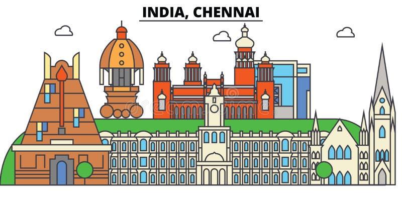 Chennai Indien, Hinduism Stadshorisont, arkitektur, byggnader, gator, kontur, landskap, panorama, gränsmärken stock illustrationer