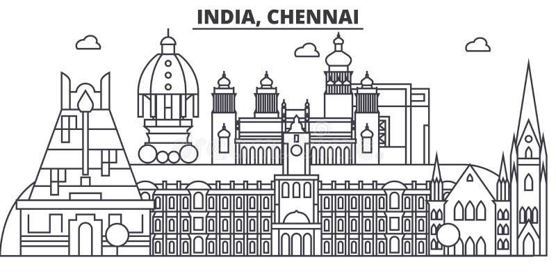 Chennai, linha ilustração da arquitetura da Índia da skyline Arquitetura da cidade linear com marcos famosos, vistas do vetor da  ilustração royalty free