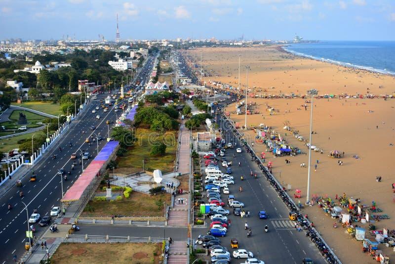 Chennai miasta linia horyzontu od Marina latarni morskiej obraz royalty free