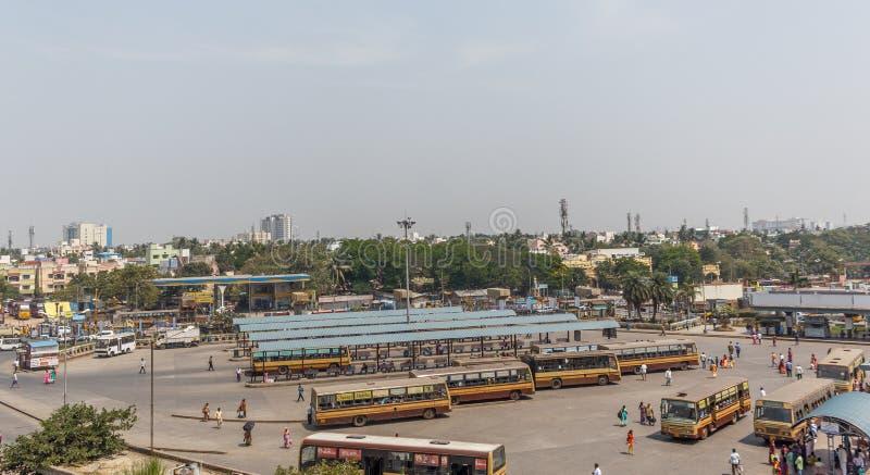 Chennai Mofussil Autobusowy Terminus CMBT jest nowożytnym dworcem autobusowym dla outstation przewiezionych usługa fotografia stock