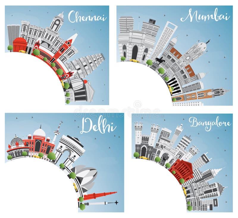 Chennai-, Mumbai-, Delhi- und Bangalore-Stadt-Skyline mit Gray Land stock abbildung