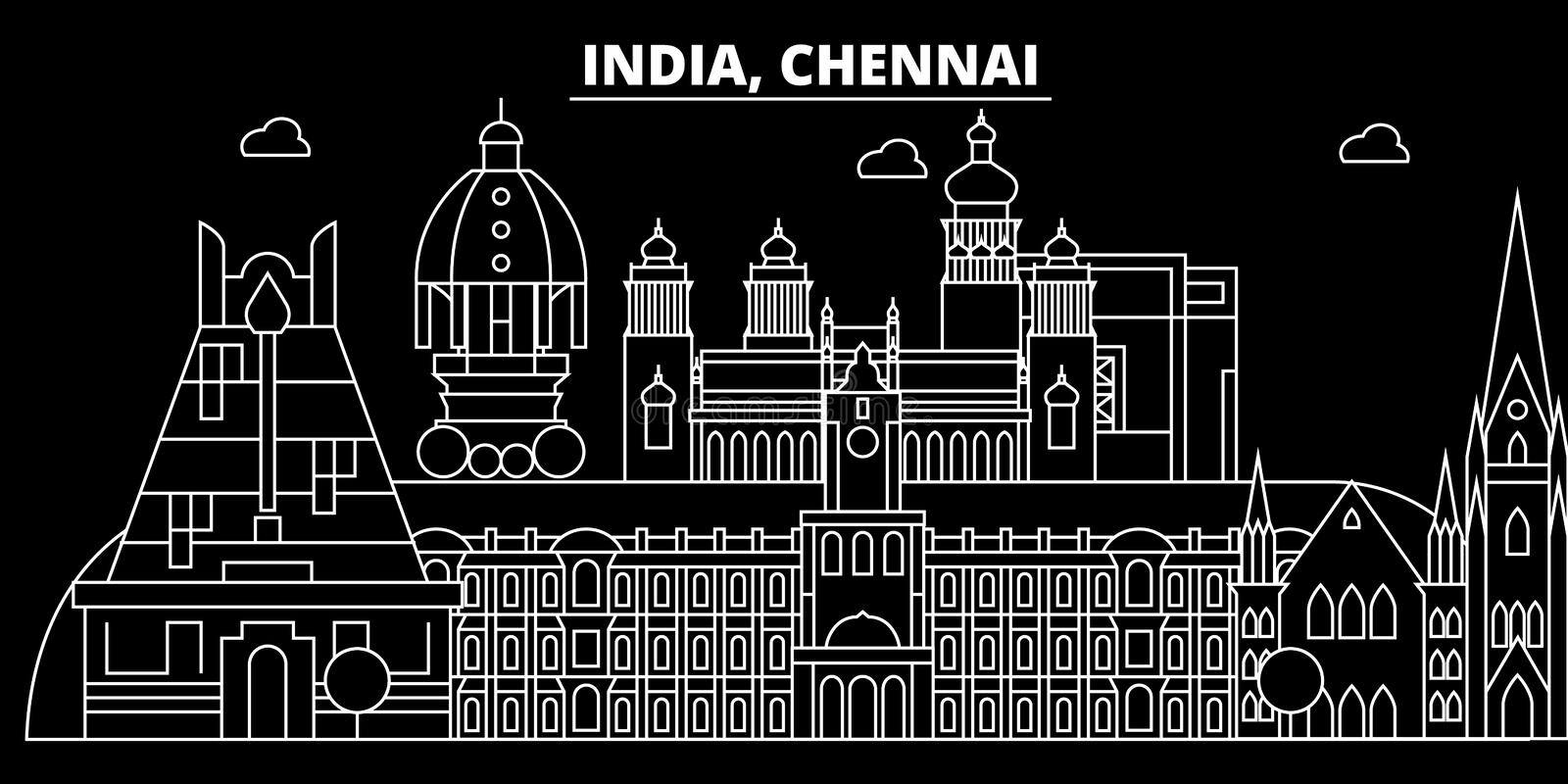 Chennai silhouette skyline. India - Chennai vector city, indian linear architecture, buildings. Chennai travel. Chennai silhouette skyline. India - Chennai royalty free illustration
