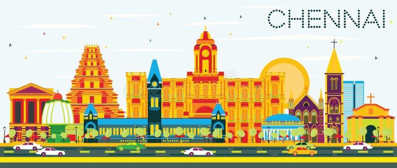Chennai Skyline with Color Landmarks and Blue Sky. vector illustration