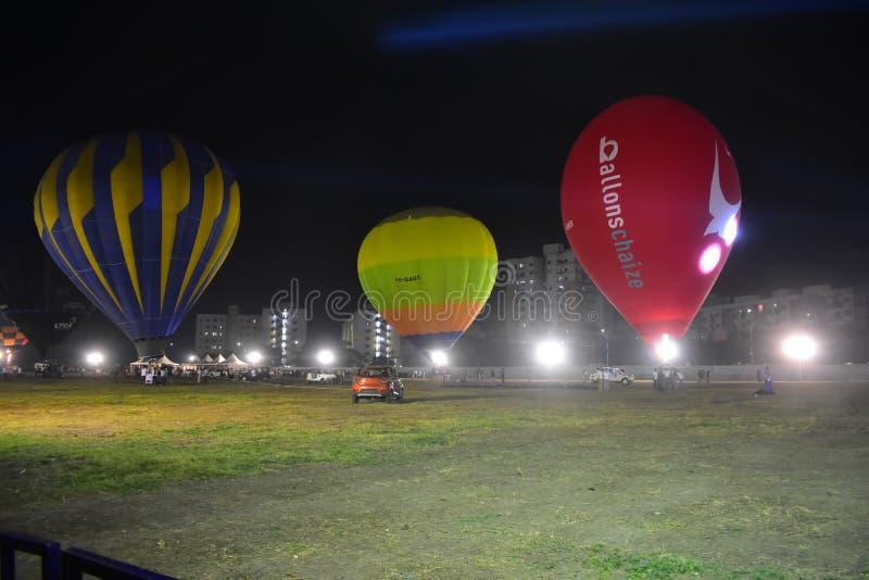 Chennai, Tamilnadu - Indien, am 6. Januar 2019: Heißluft Ballon-Festival lizenzfreie stockfotografie