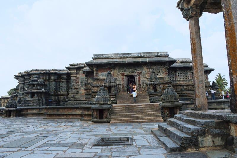 Chennakeshava寺庙、Kesava或者Vijayanarayana寺庙 贝鲁尔,哈桑卡纳塔克邦,印度 免版税库存照片