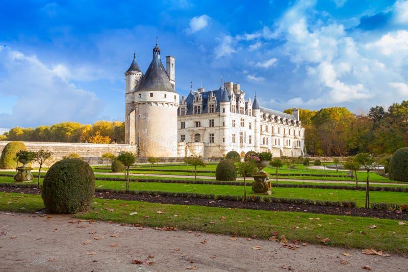 Chenonceau, castillo francés medieval real fotografía de archivo