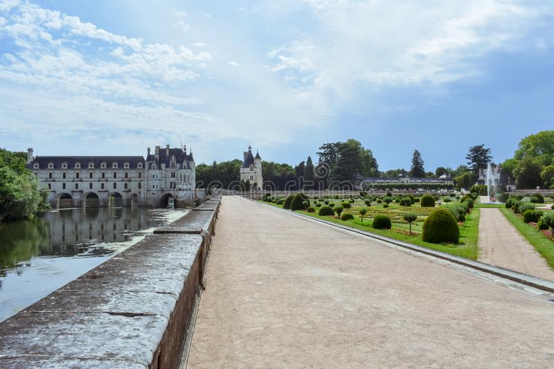 CHENONCEAU CASTLE, FRANCE - JULY 06, 2017: French loire valley castle spanning the River Cher. Chenonceau Castle, France on July stock photo
