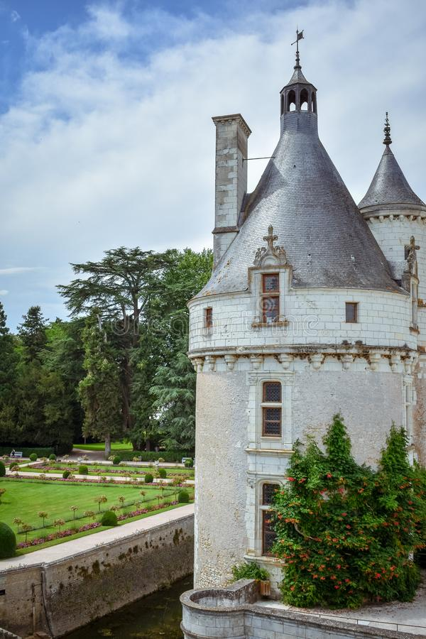 CHENONCEAU CASTLE, FRANCE - JULY 06, 2017: French loire valley castle spanning the River Cher. Tower detail in a summer day at. Chenonceau Castle, France on stock image