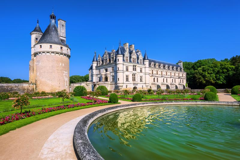Chenonceau Castle, Loire Valley, France stock images