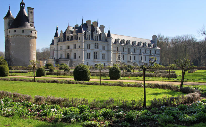 Chenonceau castle and tower. Chenonceau elegant castle and tower from back garden . Loire Valley in France stock image