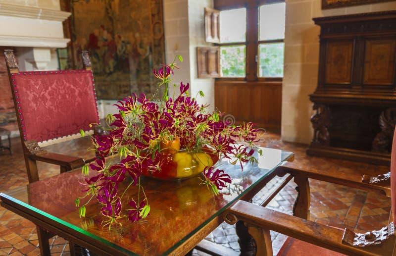 Chenonceau kasztelu wnętrze zdjęcia royalty free
