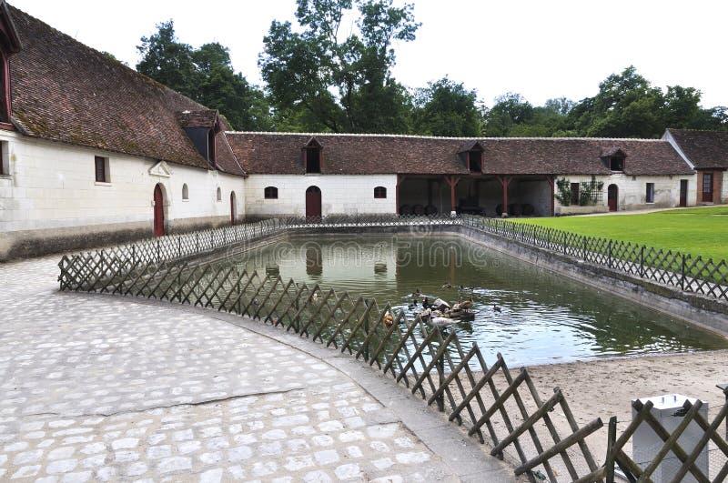 CHENONCEAU lantgård på chateauen de Chenonceau, Loire Valley slott royaltyfri bild