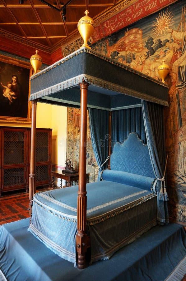 Chenonceau-Schloss-Schlafzimmer lizenzfreie stockfotos