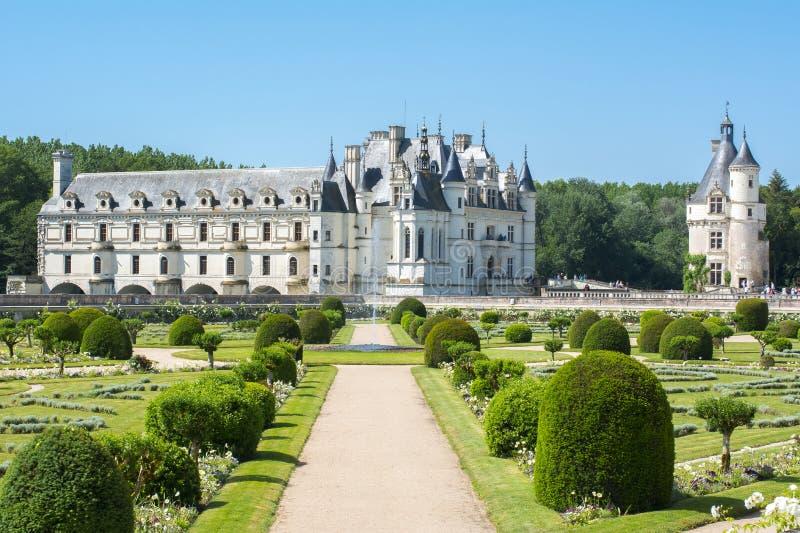 Chenonceau slott Chateau de Chenonceau, Frankrike royaltyfri bild