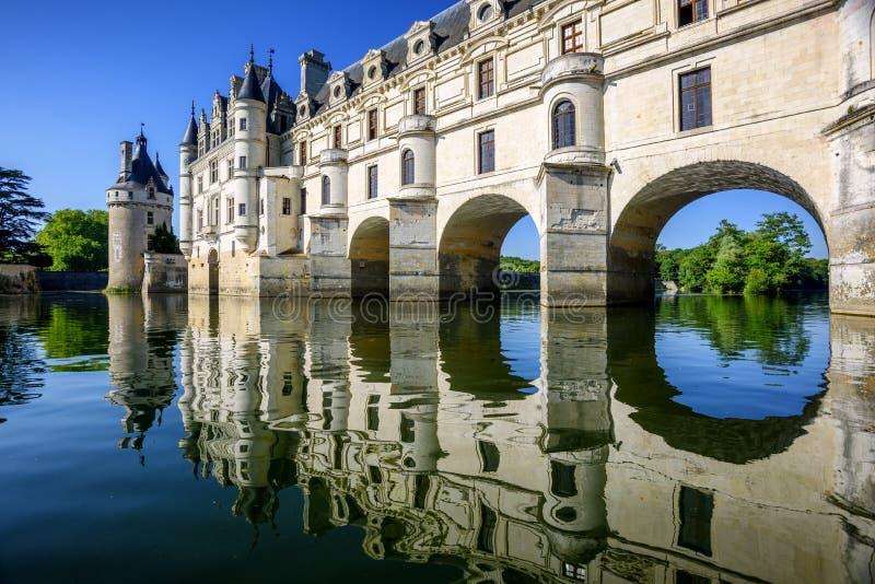 Chenonceau slott i Loire Valley, Frankrike arkivfoton