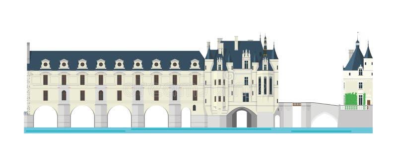 Chenonceau slott, Loire Valley, Frankrike också vektor för coreldrawillustration vektor illustrationer
