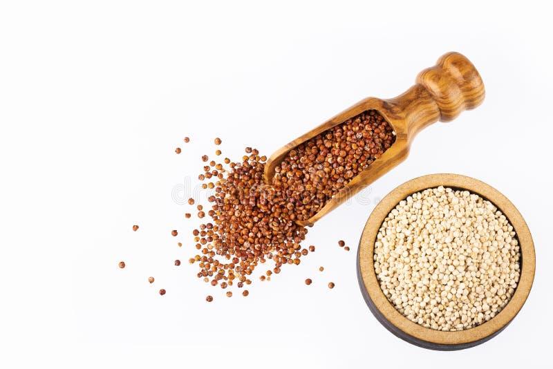Red and white quinoa seeds - Chenopodium quinoa royalty free stock photos