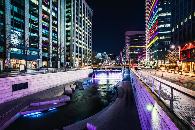 Cheonggyecheon Stream. Park at night in Seoul City, South Korea royalty free stock images