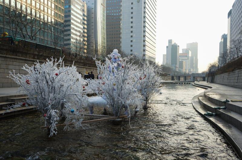 Cheonggyecheon-Strom lizenzfreies stockfoto