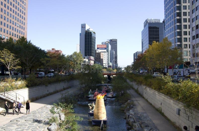 Cheonggyecheon-Strom Seoul Korea stockfoto