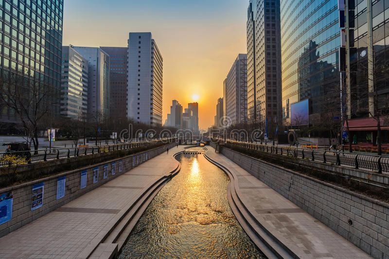 Cheonggyecheon-Strom Seoul Südkorea stockfoto