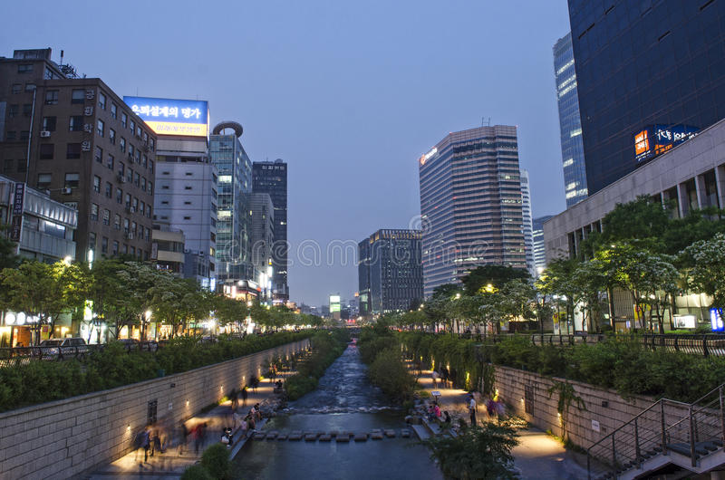 Cheonggyecheon Strom in Seoul Südkorea stockfoto