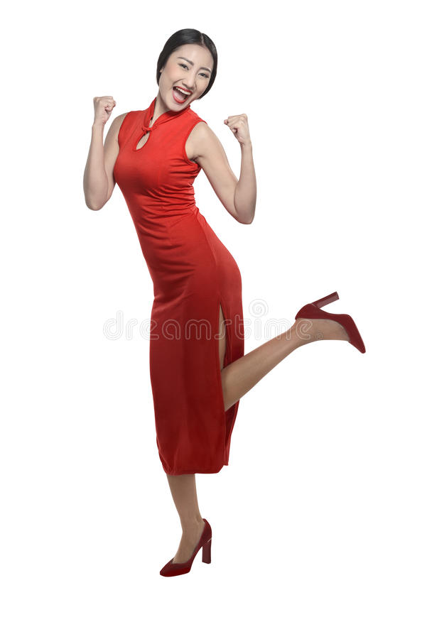 cheongsam礼服的中国女孩 免版税图库摄影