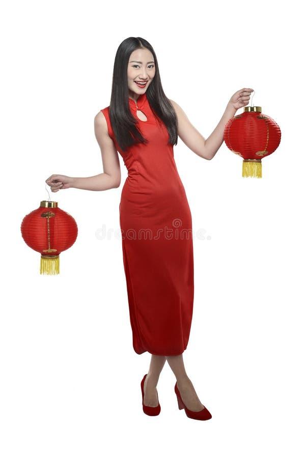 cheongsam礼服的中国女孩 库存图片