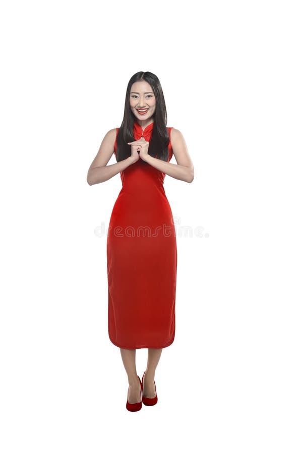 cheongsam礼服的中国女孩 免版税库存照片