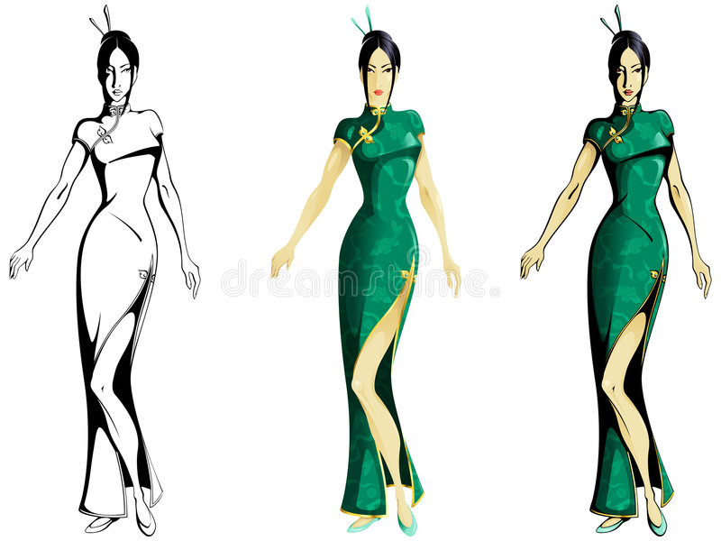 cheongsam dziewczyny target3422_0_ ilustracja wektor