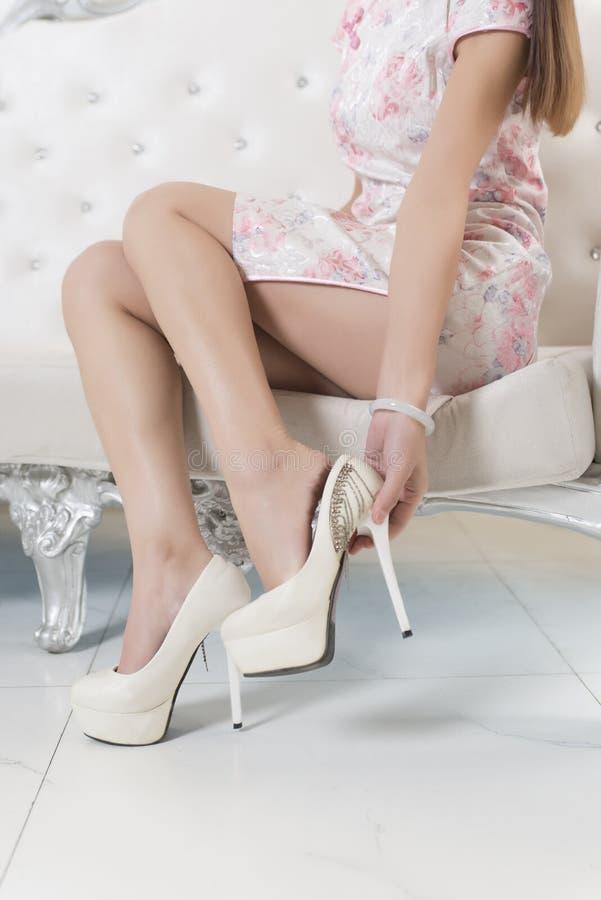 Free Cheongsam Woman Legs And High Heels Stock Image - 92928751