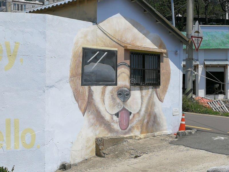 Cheongsapo口岸壁画,釜山 库存图片