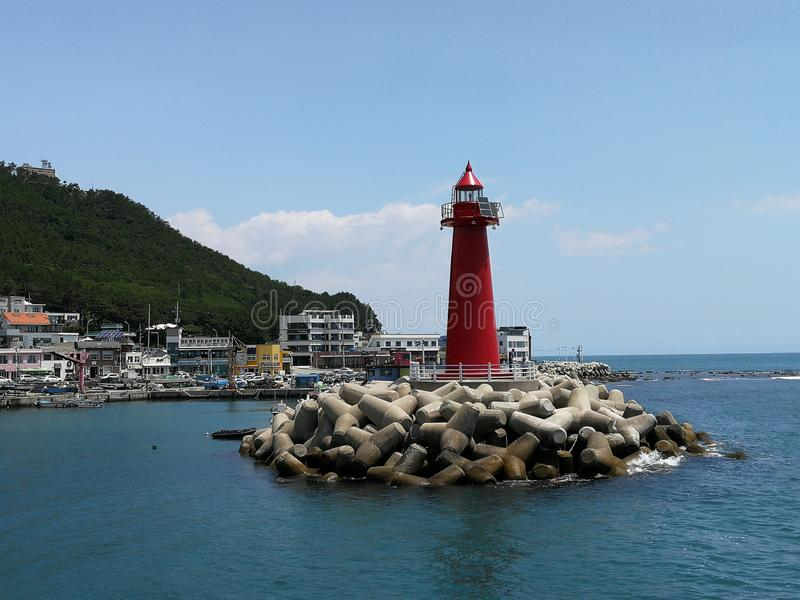 Cheongsapo Port Lighhouse, Busan. Cheongsapo Port, situated between Haeundae and Songjeong, marks the intersection between Korea`s eastern and southern coasts royalty free stock photo
