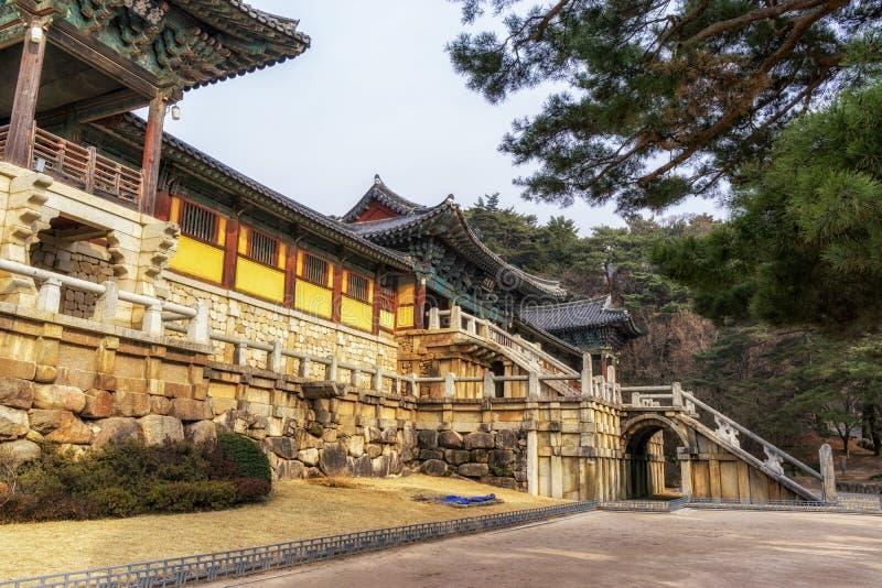 Cheongungyo en baegungyo in bulguksatempel stock fotografie